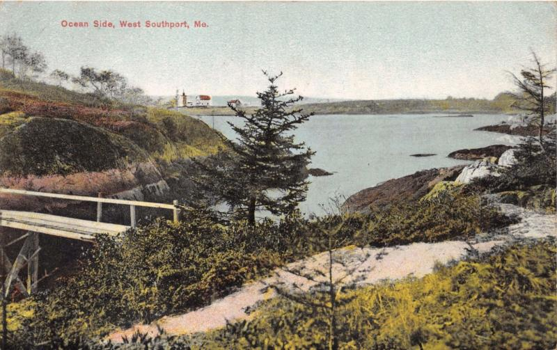 WEST SOUTHPORT MAINE OCEAN SIDE~LIGHTHOUSE IN DISTANCE?~G W MORRIS POSTCARD 1909