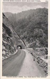 California Feather River Highway Solid Rock Tunnel