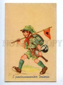 177438 POLAND Boy SCOUT by OLKUSZ Vintage SOWDO postcard