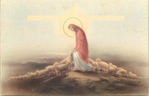 Italy Greetings christ with sheeps biblic  Postcard