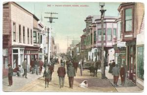 Nome AK Busy Front Street View Horse & Wagon Store Fronts Postcard