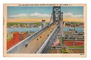 Delaware River Bridge Camden NJ to Philadelphia PA Vintage Linen Postcard