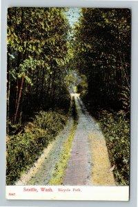 Seattle WA-Washington, Scenic Bicycle Path, Tree Canopy, Vintage Postcard