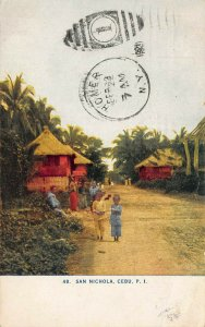 San Nichola, Cebu, Philippines, Early Postcard, Used in 1921 to Homer, N.Y.