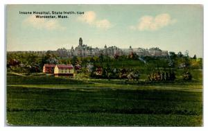 Early 1900s Insane Hospital, State Institution, Worcester, MA Postcard
