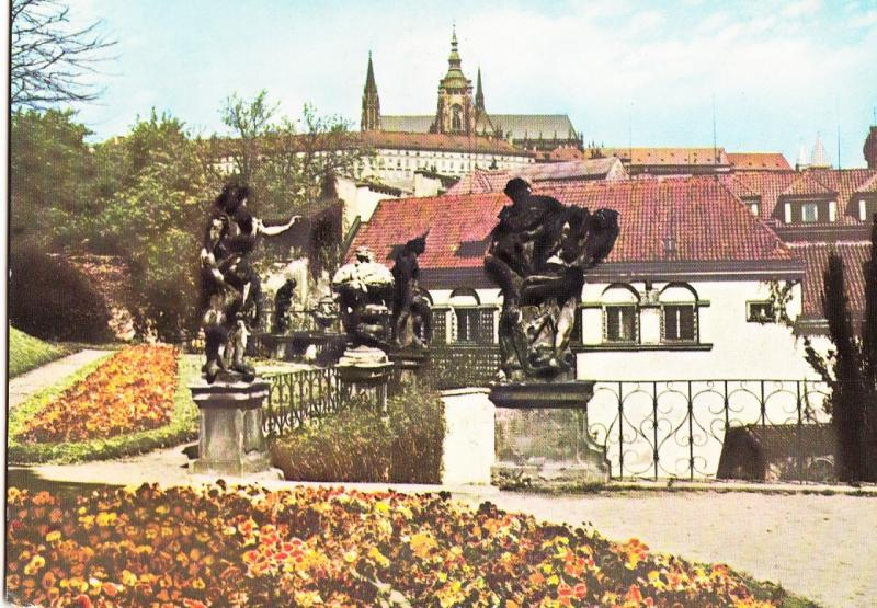 Czech Republic, PRAHA, PRAGUE, Statues in the Garden of the Vrtba Palace,
