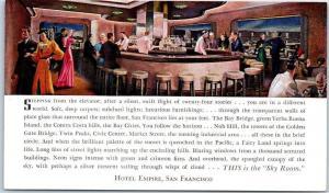 San Francisco CA Postcard HOTEL EMPIRE Sky Room Cocktail Lounge Bar c1950s