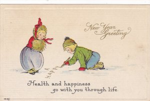 NEW YEAR, PU-1918; New Year Greetings Children Drawing On The Snow