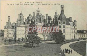Old Postcard Chateau de Chambord View North facede taking Hotel