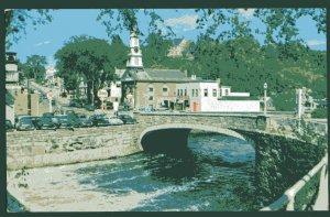 NH Main Street PETERBOROUGH shows arch bridge Contoocook River Town Church - C