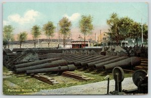 Fortress Monroe Virginia~Civil War Relics Piled Up~Cannon~Holders~Balls~c1910