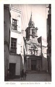 Spain Old Vintage Antique Post Card Iglesia de Santa Maria Cadiz Unused