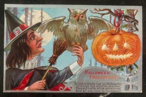 1909 Altoona PA Usa Picture Postcard PPC Cover Halloween Precautions White Owl