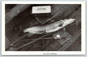 Escanaba Michigan~Fish on Boat Seat~Tackle Box~Rod Reel~1940s B&W Postcard