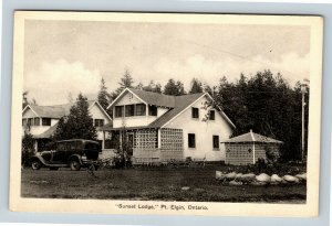 Chrome View of Sunset Lodge, Pt Elgin ON, Canada, Postcard