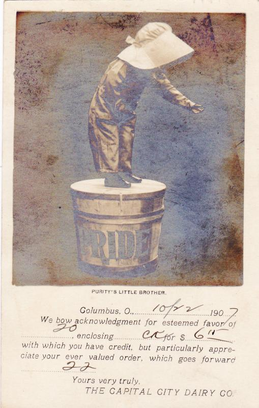 RP, Kid standing on tub of PRIDE Butter, Columbus, Ohio, 1907