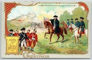 Patriotic~July 4th~Revolutionary War~Washington on Horseback~Gold Art Nouveau