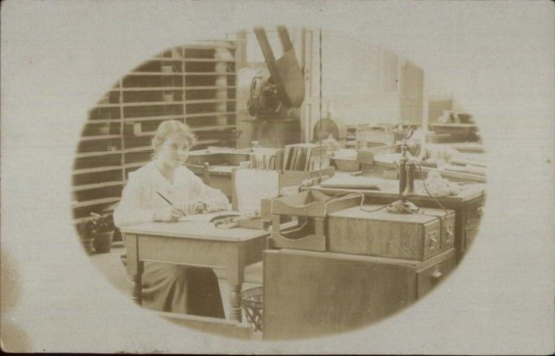 Woman Works in Office Old Telephone Pen Books Shelves Desks c1910 RPPC