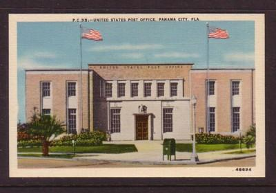 Florida colour PC United States Post Office Panama City, Fla, unused