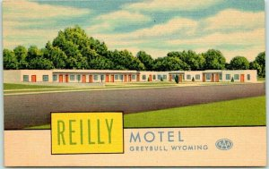 GREYBULL, Wyoming Postcard REILLY MOTEL Highway 14 Roadside / Curteich Linen