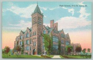 East St Louis Illinois~High School~Man Sitting Statue~c1910