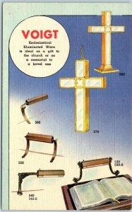1940s LINEN Advertising Postcard VOIGT Pulpit & Lectern Lamps Church Fixtures