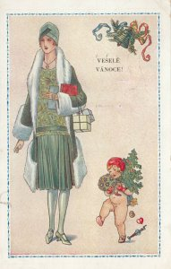 Art Deco ; Tall Woman Portrait #3 , Cherub VESELE VANOCE! , 1910-20s