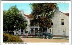 Bardstown, Kentucky Postcard TALBOTT HOTEL & Old Stone Tavern Street View 1928
