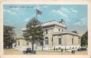 Antigo Wisconsin~Post Office~People & Vintage Cars in Front~1920s Postcard