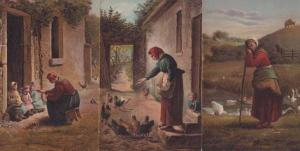 German Lady Farmer Farming Feeding Birds Hens 3x Antique Postcard Bundle