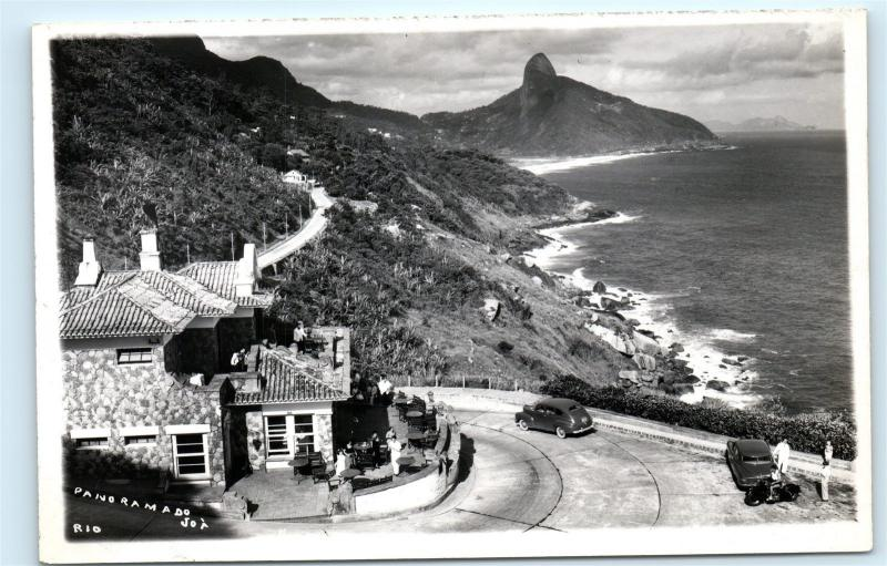 *Brasil Brazil Coastline Classic Car Restaurant Ocean Vintage Photo Postcard C84