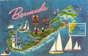 Bermuda Post card Old Vintage Antique Postcard Bermuda Map Postal used unknown