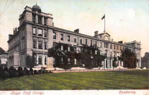Royal Staff College, Camberly, England, Early Postcard, Used in 1905