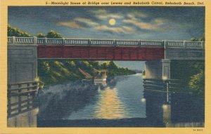Rehoboth Beach DE Delaware Moonlight Bridge over Lewes and Rehoboth Canal Linen