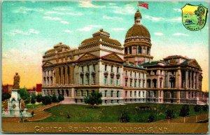 Vintage 1910s Indianapolis, Indiana Embossed Postcard STATE CAPITOL Unused