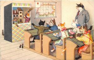 F60/ Alfred Mainzer Dressed Cats Postcard c1940s School Classroom 6