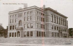 1908 New High School Building Sioux Falls South Dakota Tom Jones postcard 9078