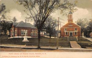 Meredith NH~Public Library~Baptist Church~Civil War Soldiers Monument~1905 PC