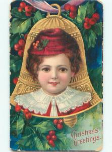 Pre-Linen Christmas FACE OF BOY ON BELL AB5593