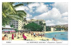 HI Hawaii Waikiki Beach Northwest Airlines Hawaiian Express Advertising Postcard