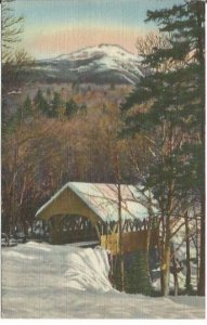 Mount Liberty and Covered Bridge At the Flume Franconia Notch, White Mountains