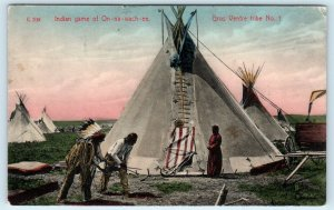 MONTANA, MT  Indian Game of On-Na-Wach-Ee GROS VENTRE TRIBE Handcolored Postcard