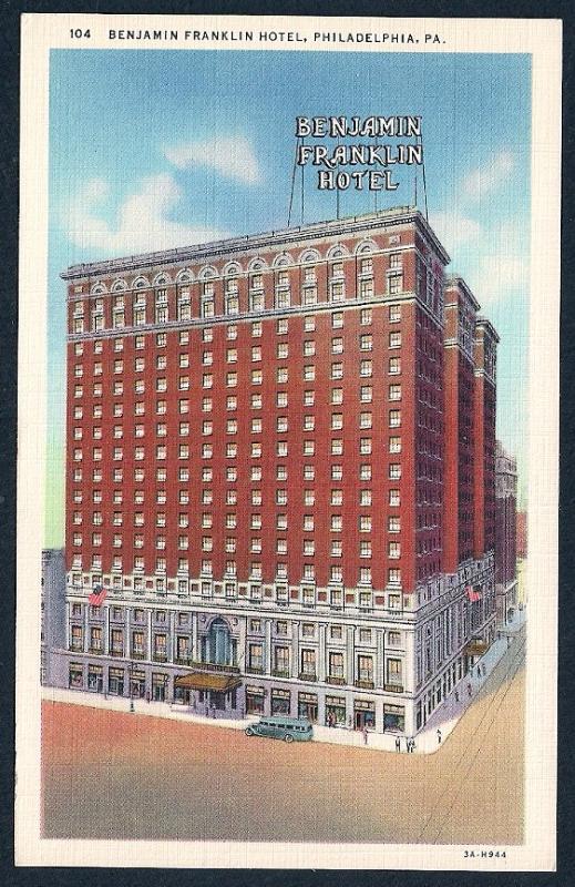 Benjamin Franklin Hotel Philadelphia PA unused c1933
