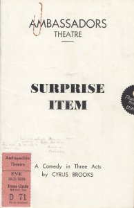 Surprise Item John Laurie Private Fraser Dads Army Comedy Star Theatre Programme