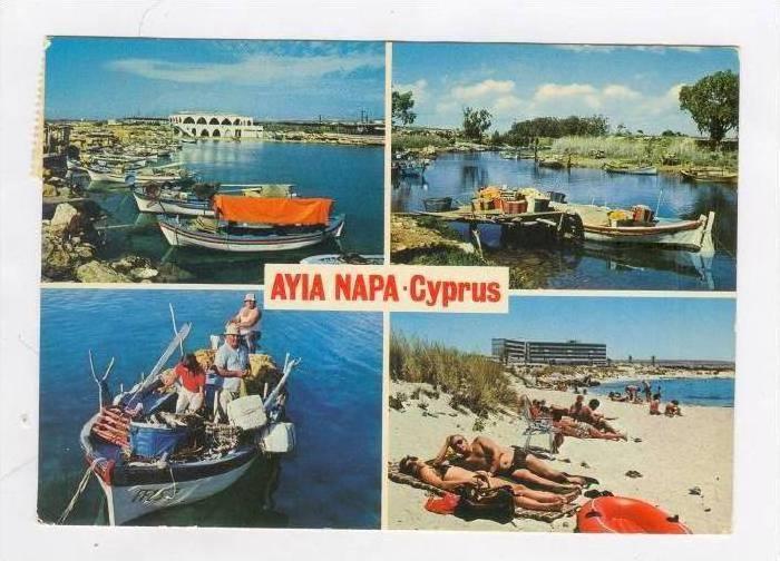 4-view postcard, AYIA NAPA, Cyprus, PU-1970s