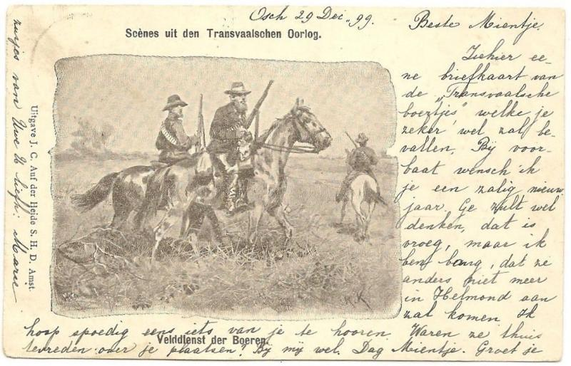 Armed Boer horsemen postcard used 1899 South Africa