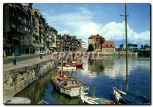 Modern Postcard Honfleur The old dock basin Ste Catherine and Lieutenancy Boat