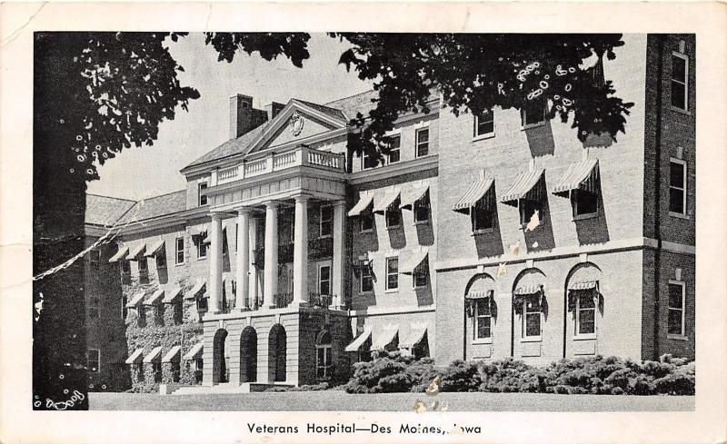 Des Moines Iowa Veterans Hospital Striped Awnings in Windows 1920s