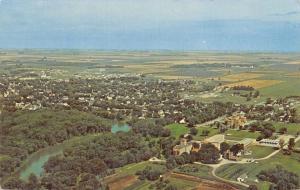 Crookston Minnesota~Birdseye Town Panorama~Buildings~Homes~Farms~1960s Postcard