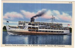 America's Finest Steamliner the S.S. Mount Vernon, Capacity 2400 Passengers
